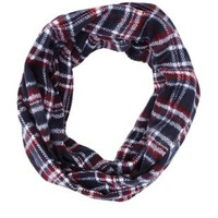 Cozy Plaid Infinity Scarf by Charlotte Russe - Navy Combo