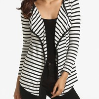 Lapel Knit Striped Cardigan