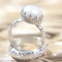Pearl Wedding Ring Set - Eco Friendly Floral Wedding Band & Engagement Ring - Alternative Diamond
