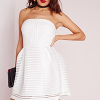 Missguided - Crochet Lace Bandeau Prom Dress White