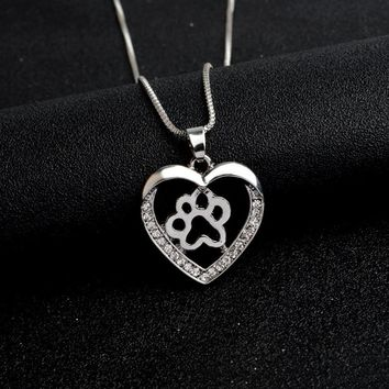 Love Dog Paw Claw Heart Shaped Pendant Necklace Crystal Rhinestone Pet Angel Jewelry Gift for Cat Kitten Owner Dog Parents
