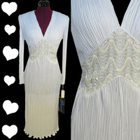 Vintage 80s NOS White Fortuny Pleated SEQUIN Prom Cocktail Dress M Wedding Pinup