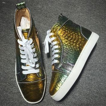 Christian Louboutin CL Python Style #2272 Sneakers Fashion Shoes Best Deal Online
