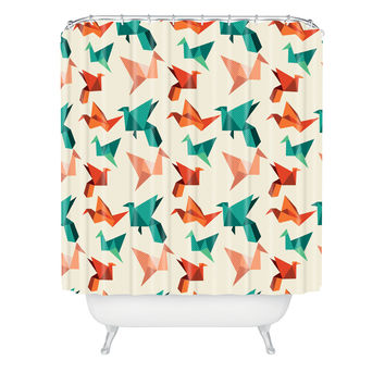 Nicole Martinez Orange Paper Crane Shower Curtain