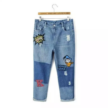 Denim Donald Duck Embroidered Frayed Cuffed Pants