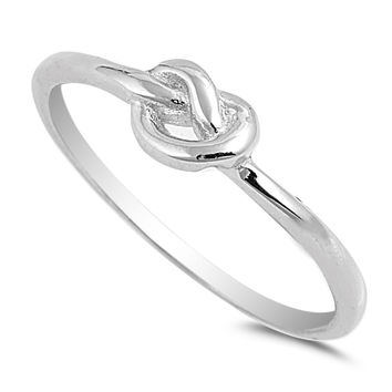 925 Sterling Silver Promise Knot Ring 5MM