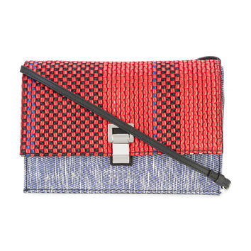 Proenza Schouler Black Stripe woven shoulder bag - ShopBAZAAR