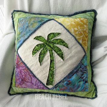 Quilted patchwork palm tree boho pillow cover, with green, yellow, blue and violet batik and blue distressed denim 18""
