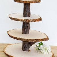Wooden Cupcake Stand Rustic Wood Tree Slice Centerpieces Wedding Decorations Wooden Rounds