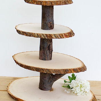 Best wood tree centerpieces products on wanelo wooden cupcake stand rustic wood tree slice centerpieces wedding decorations wooden rounds junglespirit Gallery