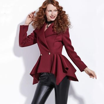 Gothic Coat Women Short Empire Jackets Fashion Outerwear Slim Chic Dark Red