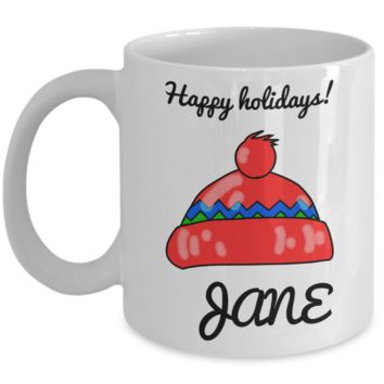 Happy Holidays Personalized Name Winter Mug for Girls - Personalization Gift for Holidays 2016 - White 11 oz Kid Drink Cup for Hot Cocoa & Milk