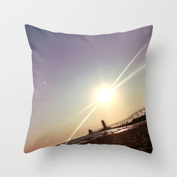 Grand Haven Pier Throw Pillow by L. L. Ayoub