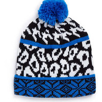 HOUNDSTOOTH AND LEOPARD BEANIE