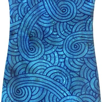 Turquoise blue swirls doodles Simple Dress