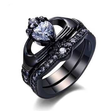 Heart Ring Sets Black Gold Filled  Zircon Claddagh Engagement Ring CZ