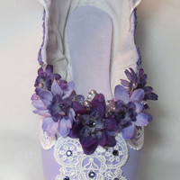 Lilac Fairy/Sleeping Beauty, purple pointe shoe with purple flowers, Swarovski crystals and pearls