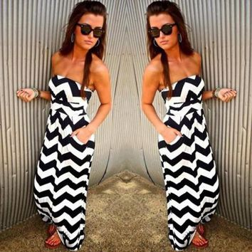 Black-White Striped Bandeau Pockets Strapless Loose-fitting Maxi Dress