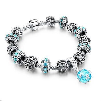 Snake Chain Bracelets & Bangles Crystal Beads Fit Pandora Bracelet Gold Jewelry Diy Pu