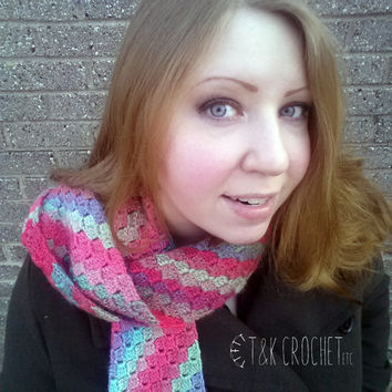Crochet Scarf, Diagonal Stripes Scarf