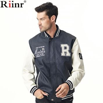 New Arrival Leather Jacket High Quality Casual Patchwork Long Sleeve PU Leather Pilot Bomber Jacket Coat Men