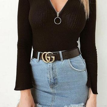 Black V-neck Circle Zip Front Flare Sleeve Chic Women Blouse