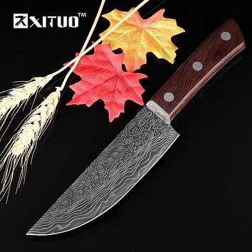 "XITUO new 6""inch Utility Kitchen Knife Japanese Steel Utility Sharp Blade wood Handle Damascus Pattern Cleaver Slicing chef tool"