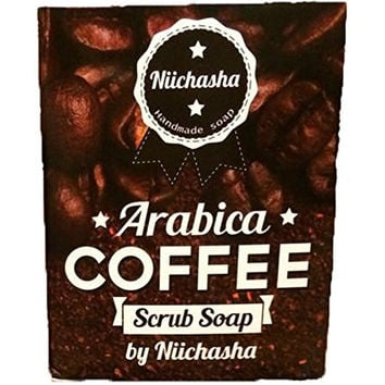 !!! WOW!!! The Best Arabica Coffee Soap Bar Cellulite Scrub, Detox&Reduce Acne, Black Spots Radiant, Essential Oils Smooth Skin Tightens Pores. For Men, Women and, 100% Natural Skinfood 80 G.
