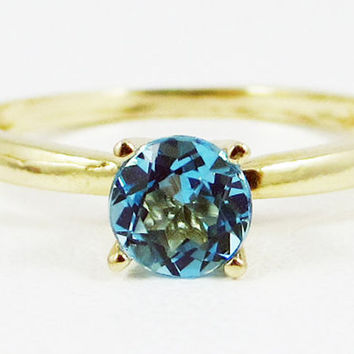 Swiss Blue Topaz Solitaire Ring 14k Yellow Gold, December Birthstone Ring, 14k Gold Solitaire Ring, Solid 14 Karat Gold Ring, Swiss Blue