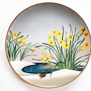 Franklin Mint Plate, Wren and Narcissus, Flowers and Birds of the Orient Collection, Hand Painted Decorator Plate 1979
