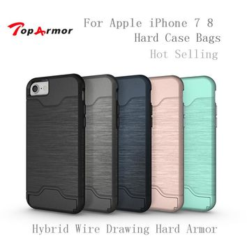TopArmor Hybrid Wire Drawing Hard Armor Case For Apple iPhone 7 8 With Stand Card Holder Mobile Phone Shell For iPhone 7 8 Cover