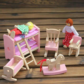 Wooden Doll Bunk Bed Set Furniture Dollhouse Miniature For Kids Child Play Toy Educational Toy Wooden Toys Baby Toys Gift #1JT F