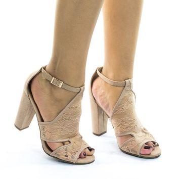 Frenzy23 Nude lace Block Heel Sandal w Embroidered Web Mesh Lace Fabric