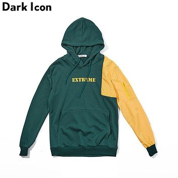 Dark Icon Patchwork Color Block Pullover Hip Hop Hoodies Men Autumn Terry Material Over sized Men's Hoodies Black Green
