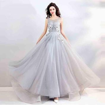 Flowers Backless Floral Lace Up Tulle Floor Length Party Gown Evening Gowns Prom Dress