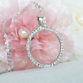 art deco clear crystal rhinestone tibetan silver plated circle necklace bridesmaids gifts