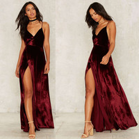 Burgundy V-Neck Backless Velvet Prom Dress