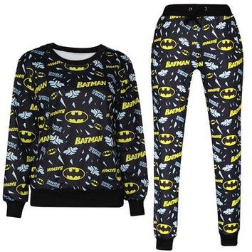 Black Elastic Sport Suits 3D Batman printed Long-sleeved sweater suit
