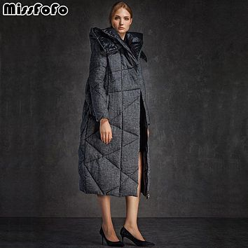 MissFoFo 2017 New Goose Down Parka Fashion Warm Wniter Down Coat Female long thickening Jacket white goose down Double-face