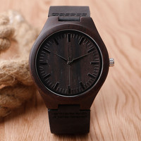 Nature Wooden Watch 2017 Minimalist Clock Bamboo Genuine Leather Fashion Men Women Creative Cool Male Female Gift Free Shipping