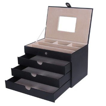 Songmics Black Leather Jewelry Box, Jewelry Organizer Case with Mirror and Storage Drawers UJBC125C