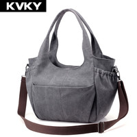 KVKY Vintage Women Canvas Handbag Hobos Female Shoulder Bag Solid Ladies Crossbody Bag Large Casual Shopping Messenger Bag Bolso