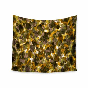 """Ebi Emporium """"WILD THING, YELLOW BROWN"""" Yellow Brown Animal Print Abstract Watercolor Mixed Media Wall Tapestry"""