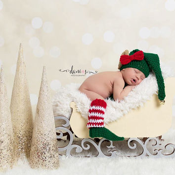 PJ's Sleigh Newborn Photography Prop Christmas Holiday Sleigh infant