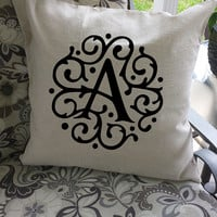 Scroll Initial Letter Throw Pillow Cover