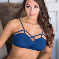 Bare Necessities Front Cut Out Bralette (Dark Navy)