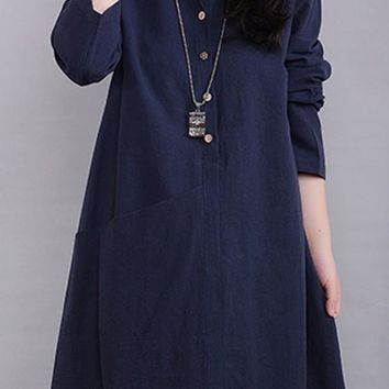 Navy Blue Plain Single Breasted Long Sleeve V-neck Plus Size Fall Casual Fashion Midi Dress