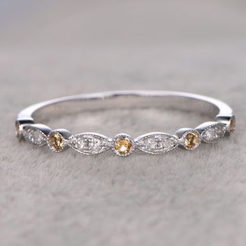 Natural Yellow Citrine and Diamonds,Half Eternity Wedding Ring,Solid 14K White gold,Anniversary Ring,Art deco Marquise,stacking,milgrain