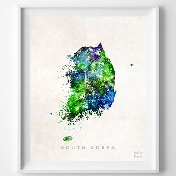 South Korea, Map, Asia, Print, Seoul, Korean, Watercolor, Home Town, Poster, Country, Wall Decor, Painting, World, Living Room, Gift