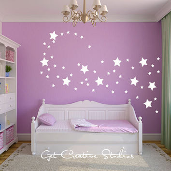 White Stars Wall Decal Shape Disney Magical Wind Fairy Sparkle Shimmer 2 sizes